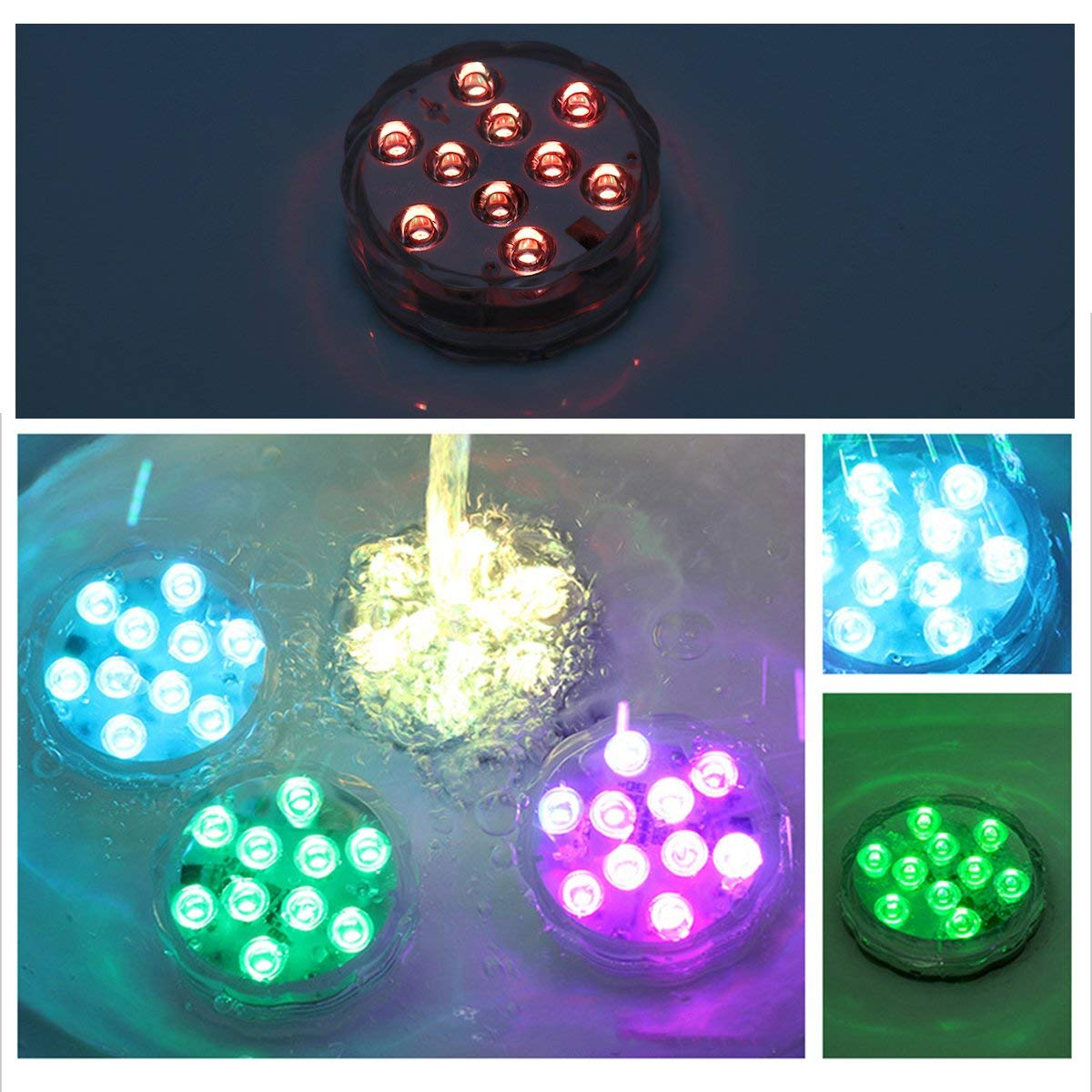 Remote RGB Color Changing Submersible LED Light Underwater Decor for Aquarium Fish Tanks Wedding Vase Garden Pond 2pcs