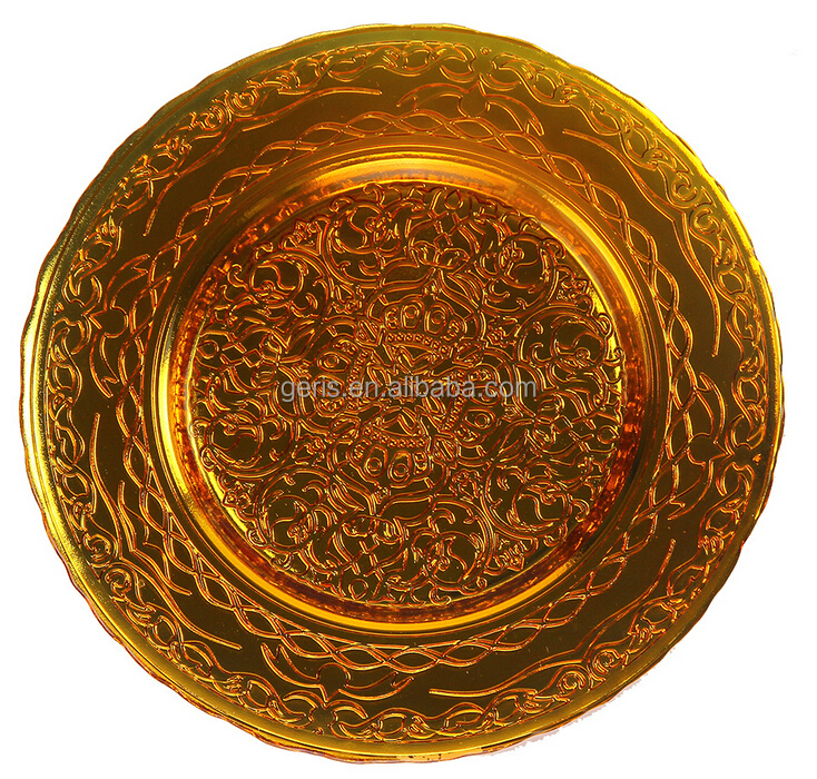 GRS Wedding Gold Charger Plate Glass