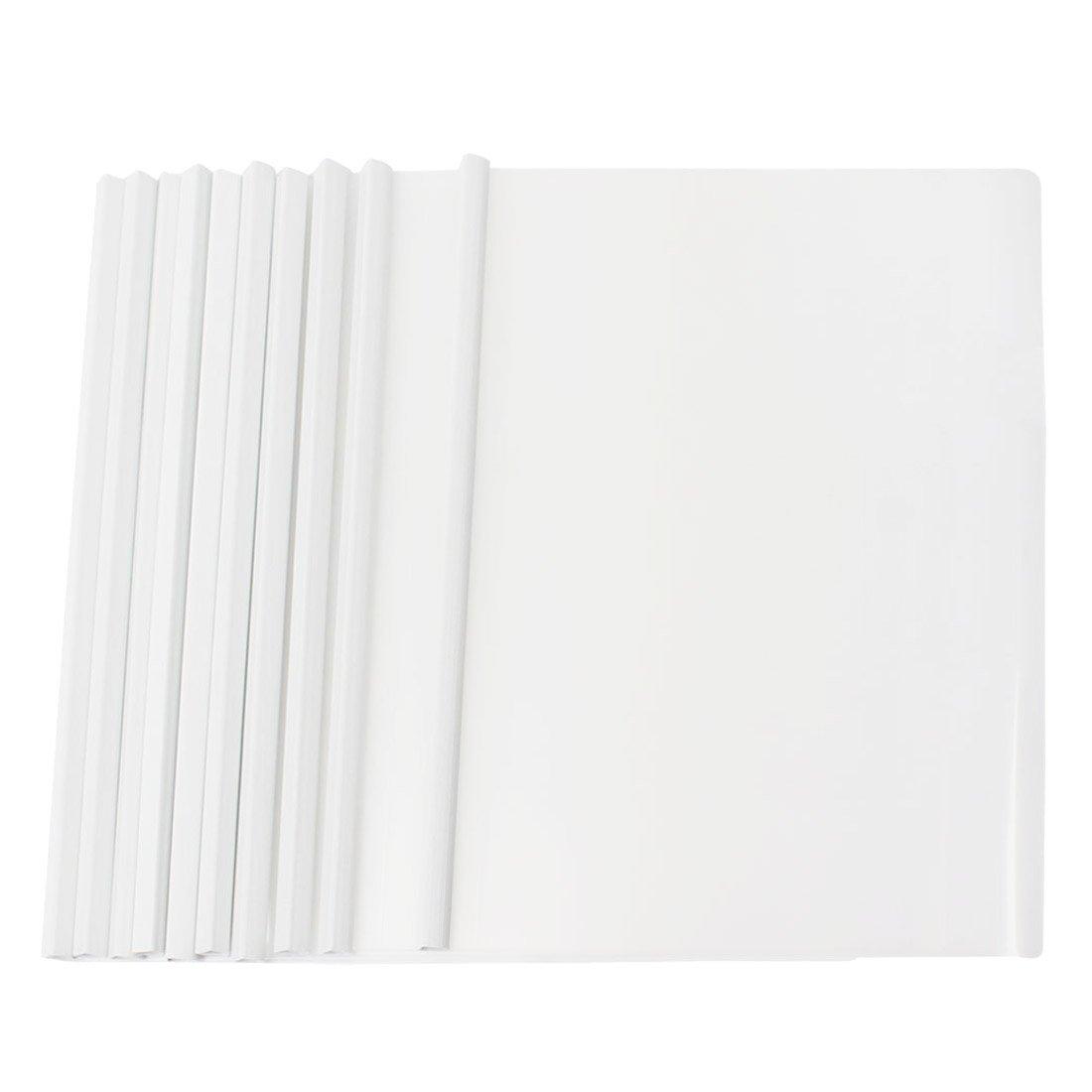 SODIAL 10 Pcs white Plastic Sliding Bar File Folder for A4 Paper Report