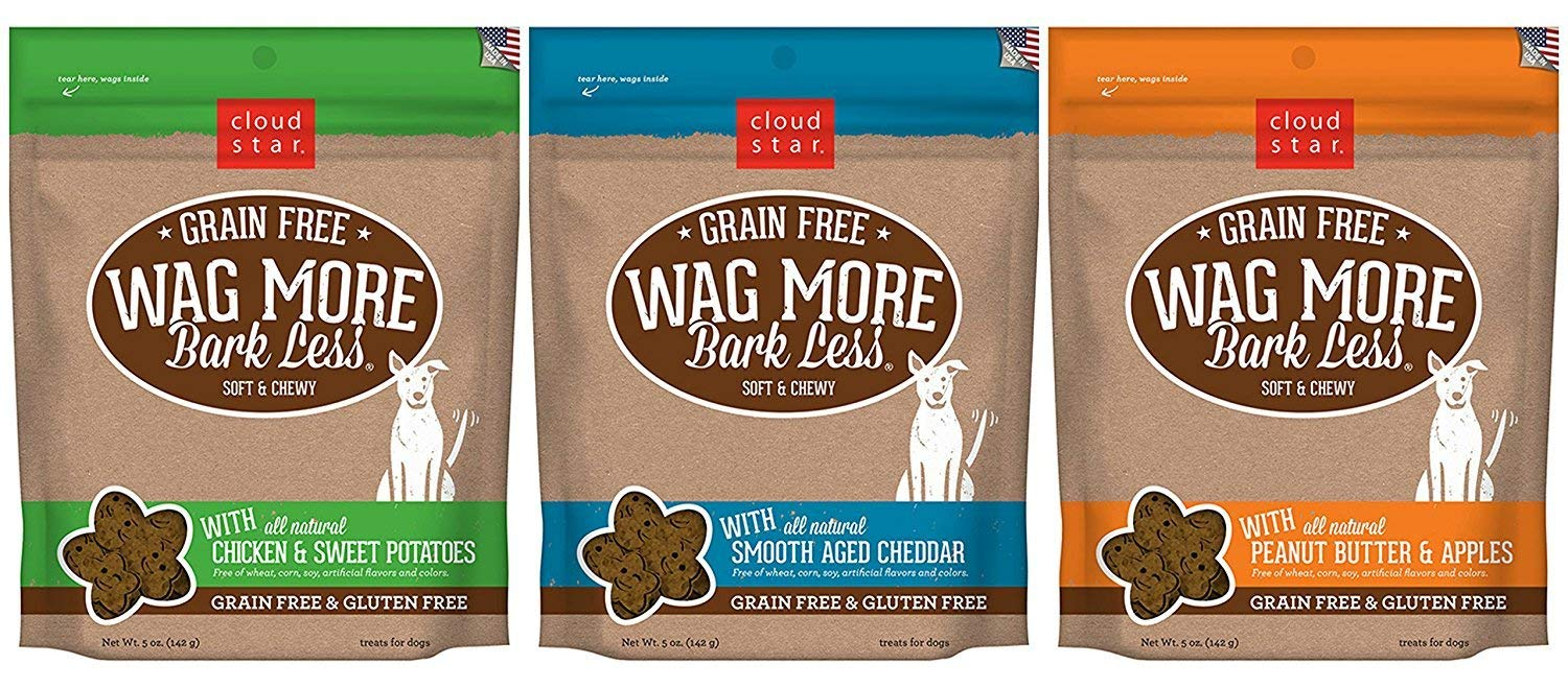 Cloud Star Wag More Bark Less Grain Free Soft & Chewy Dog Treats 3 Flavor Variety Bundle: (1) Wag More Bark Less Grain Free Soft & Chewy Peanut Butter & Apples, (1) Wag More Bark Grain Free Soft & Chewy Smooth Aged Cheddar, and (1) Wag More Bark Less Grain Free Soft & Chewy Chicken & Sweet Potato,
