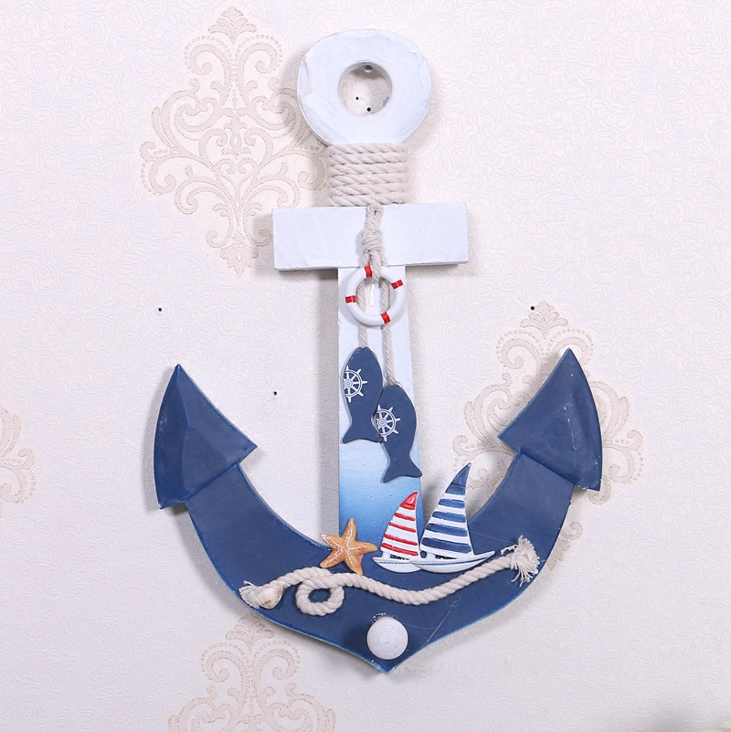 Mediterranean Wood Boat Anchor Wooden Decorations Hook Wall Pendant <font><b>Home</b></font> Wooden Boats <font><b>Nautical</b></font> <font><b>Decor</b></font>
