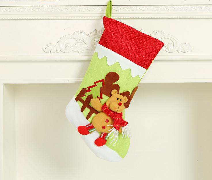 Christmas Stockings Cartoon.Christmas Stocking Socks Xmas Gift Bag Cartoon Santa Claus Snowman Elk Pendant Christmas Party Decoration Ornaments Gifts Buy Christmas Stocking
