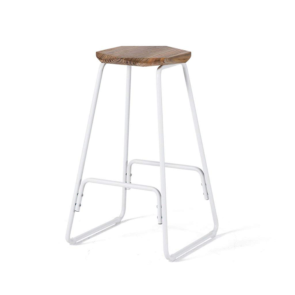 LQQGXL European chair Bar stool creative wrought iron bar stool modern minimalist wooden high stool retro stool (Color : D)