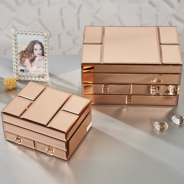 Wholesale Glass Rose Gold Jewellery Box Buy Glass BoxWholesale