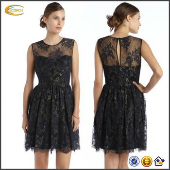 c564febb0 OEM al por mayor 2015 nueva moda mujeres vestido de noche corto negro  iridiscente LACE Illusion