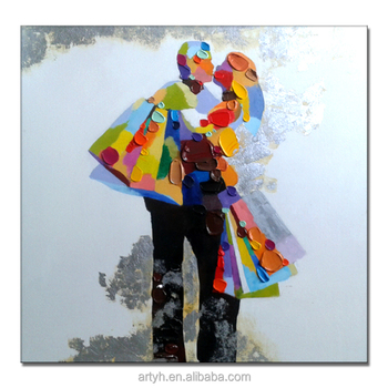 Pop Handmade Colorful Abstract Figure Valentine oil painting for Decor