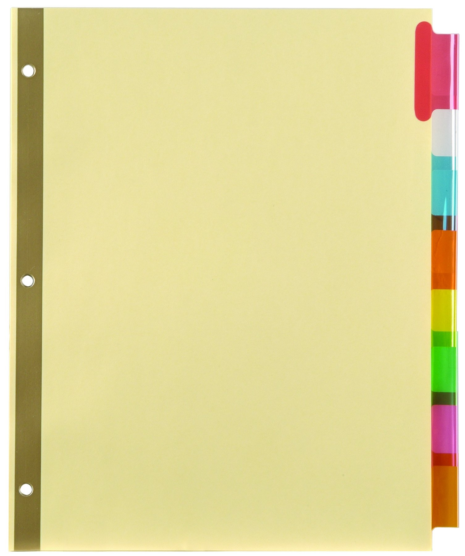 Staples; Insertable Big Tab Dividers with Buff Paper, Multicolor, 8-Tab