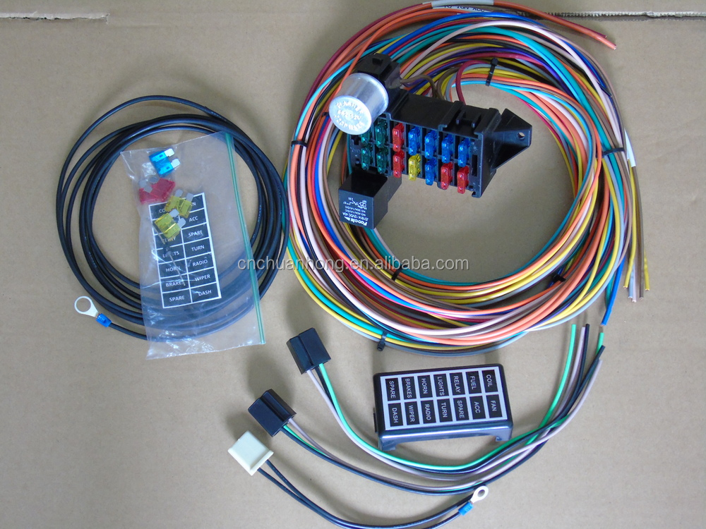 cnch new 14 circuit basic wire kit small wiring harness for rat rh wholesaler alibaba com Harness Wiring 20-Circuit Painless Wiring Harness