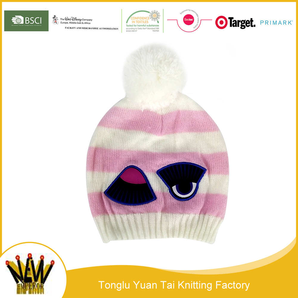 Cheap sale this year hot selling cartoon embroidered characters knitting hats beanie with pompon