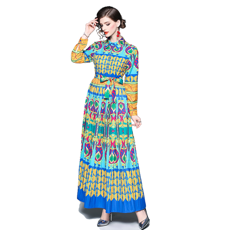 Wholesale Fashion New stylish long sleeve <strong>Western</strong> design floral maxi <strong>dress</strong> <strong>women</strong>
