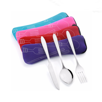 Travel Pouch Stainless Steel knife and fork spoon travel picnic cutlery set