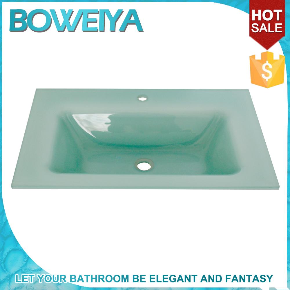Buy Intelligent Light Green Color Glass Undermount Vanity Sink ...