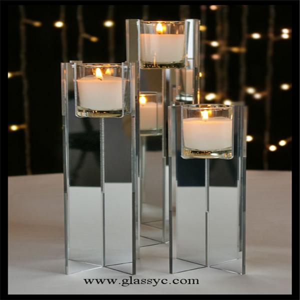 desmontable de vela de acrlico soporte de exhibicin de doble espejo lateral