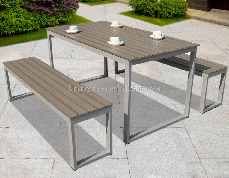 Metal Furniture Long Table And Lounge Chair Anodized Aluminum Frame With  Plastic Wooden In Grey Dining Set