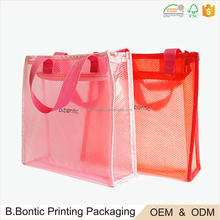 Fashion PVC plastic soft zipper printed carrier bags manufacturers