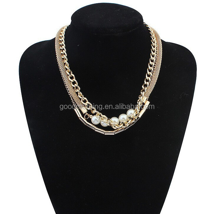 Gold channel 3 layers chunky chain pearl link necklace