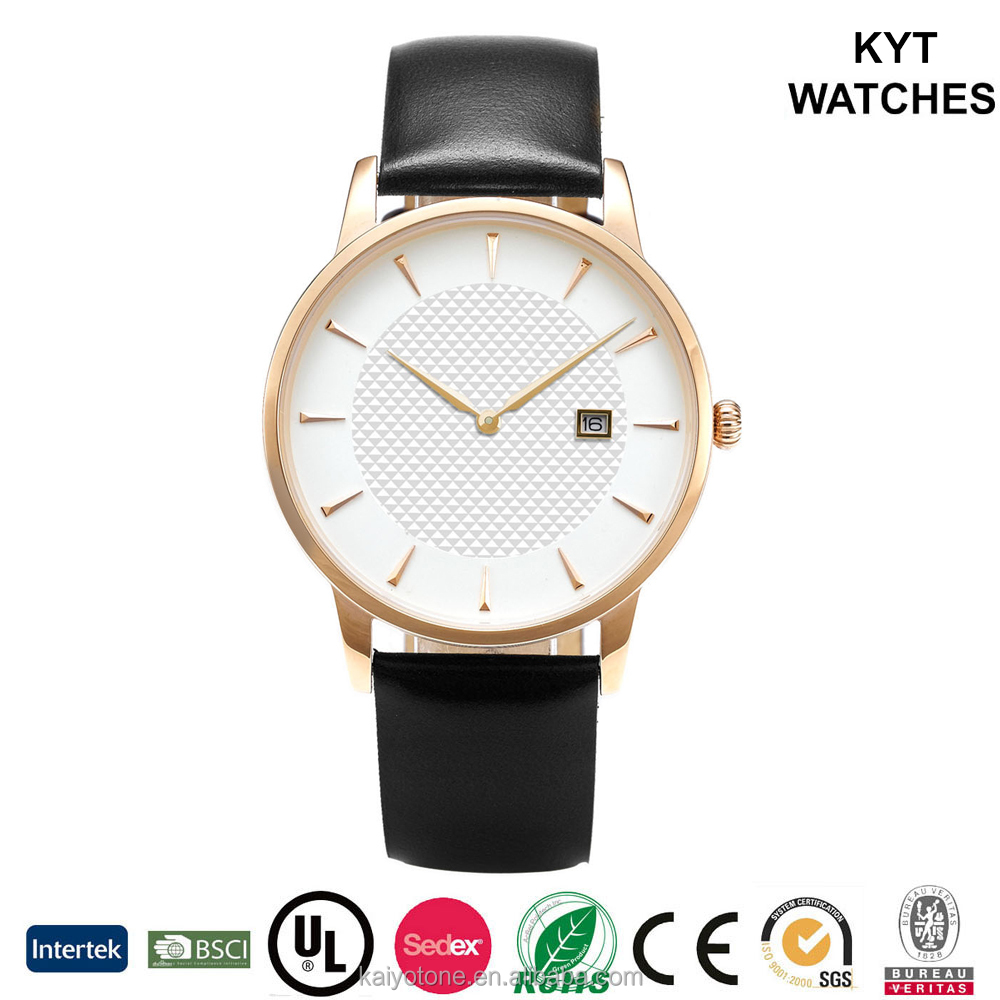Causal&fashionable style Rose gold slim couple watch with gridding pattern white dial date functional black leather strap