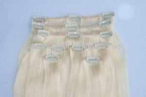 Best quality white clip in human hair extensions