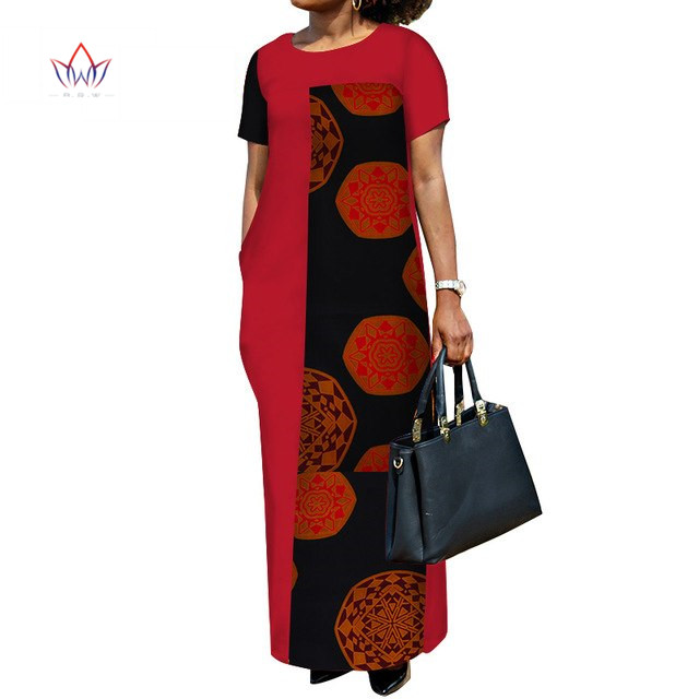 Alibaba.com / African Dresses for Women Plus Size Gown Dashiki Bazin Riche Patchwork Long Maxi Dress Traditional African Clothing WY3438