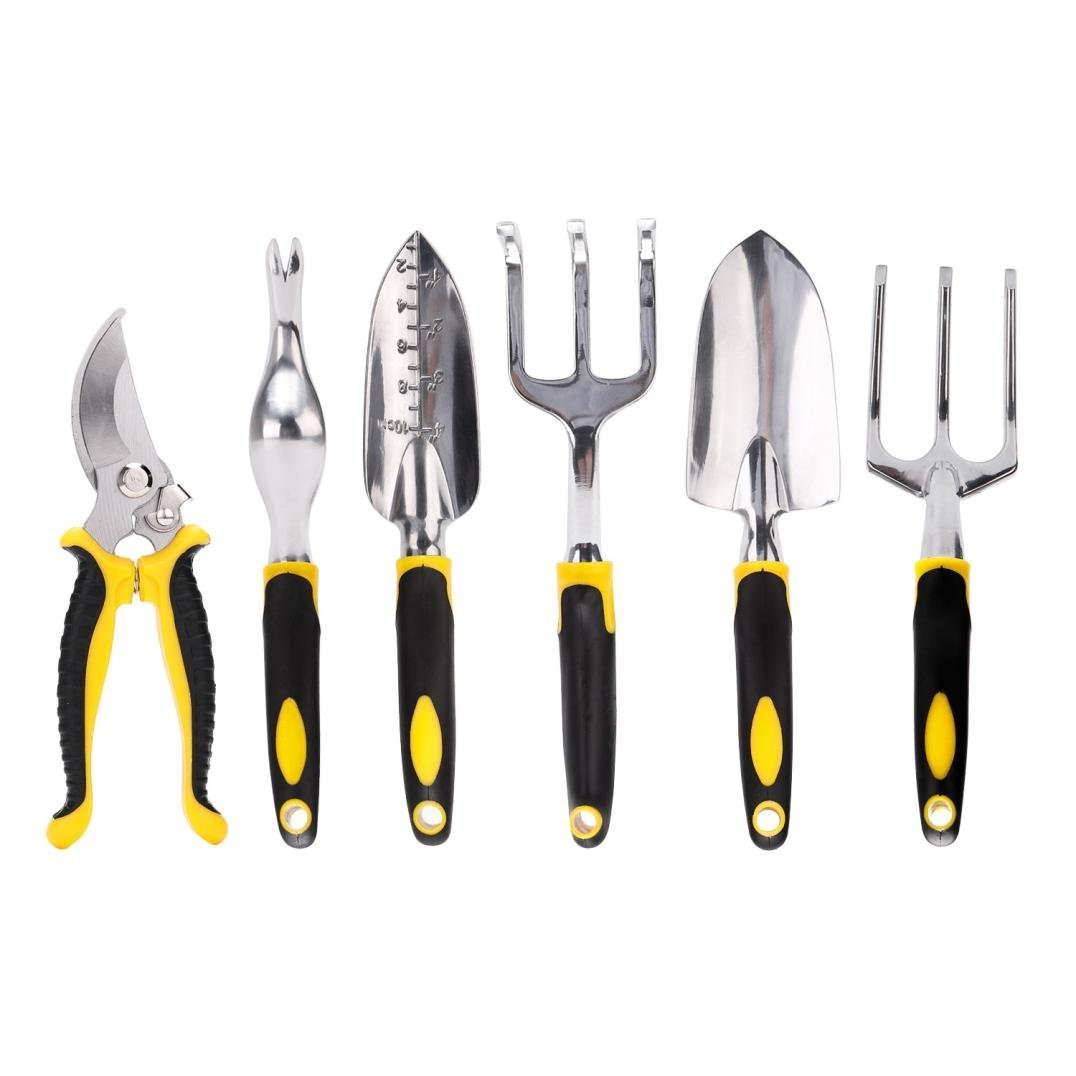 UBuyit Durable, Heavy Duty Aluminum Alloy 7 Piece All-In-One Garden Tool Set Includes 6 Tools Heavy Duty Cast-aluminum Heads & Ergonomic Handles and 1 Garden Tote
