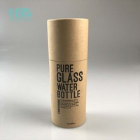 Custom printed round paper boxes tube packaging for pure glass water bottle