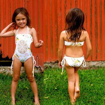 B21546A Beautiful Little Girls Printing Swimsuit Beach Swimwear
