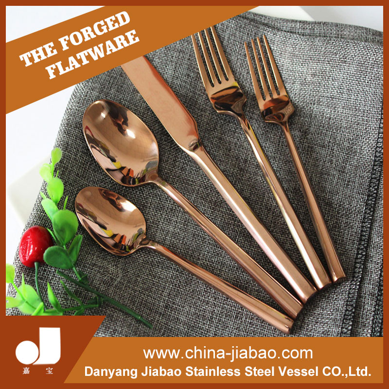 Hexagon Handle Cutlery Set,Copper Color Plated Flatware Serving Utensils