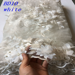 2017 African Embroidered white 3D Lace Fabric African Tulle Wholesale Bridal 3D lace fabric French Lace Fabric BD10