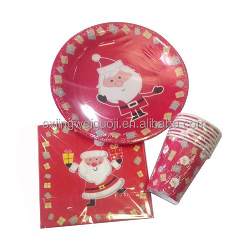 Santa Claus Party Kits of Printed Disposable Paper Cup Plate Napkin