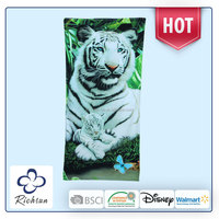 bright colored egyptian cotton bath towel with tiger photo