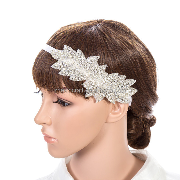 factory directly wholesale Wedding Head Piece Headband Crystal Rhinestone Head Band Satin hair Tie