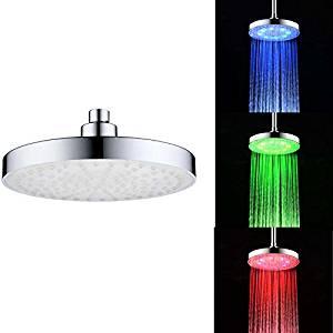 LED Light Hand Shower Head, gloednApple Automatic Changing Round Top Shower Head Bathroom LED Light Rain 3 Color