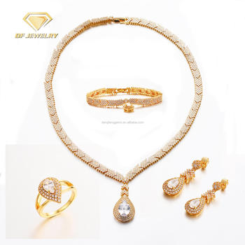2018 Indian Latest Gold Luxury Brass Wedding Stone Jewelry Sets