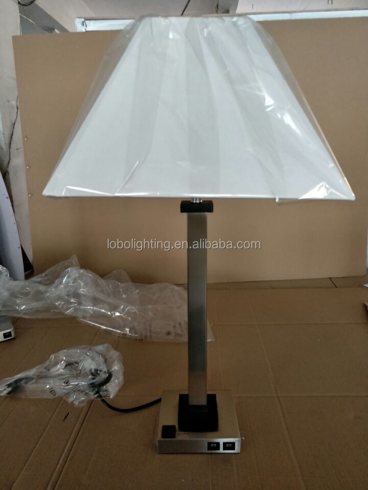 Bottle Gourd Clear Glass Table Lamp Hotel Desk Lamp With white Lampshade