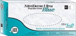 INNOVATIVE NITRIDERM ULTRA BLUE NITRILE SYNTHETIC POWDER-FREE NON-STERILE EXAM GLOVES Gloves, Exam, XX-Large, Nitrile, Chemo Tested, Non-Sterile, PF, Textured, Blue, 80/bx, 10 bx/cs