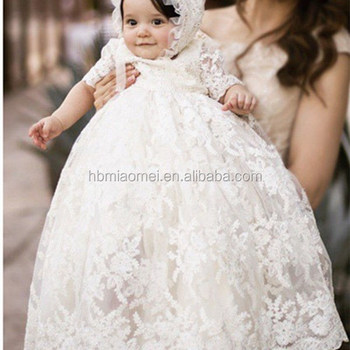 a8505aa93 Baby Grown Baptism Clothes Embroidered Long Lace Infant Baby Girl ...
