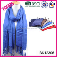 New Style Ladies Stole Stock Solid Color Viscose Scarf Plain Pashmina Shawl