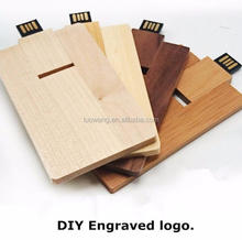 Engraving Logo Wooden Credit Card Shape USB Memory Stick Wood Card USB