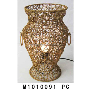 Eco-friendly wire frame rattan hanging lampshade