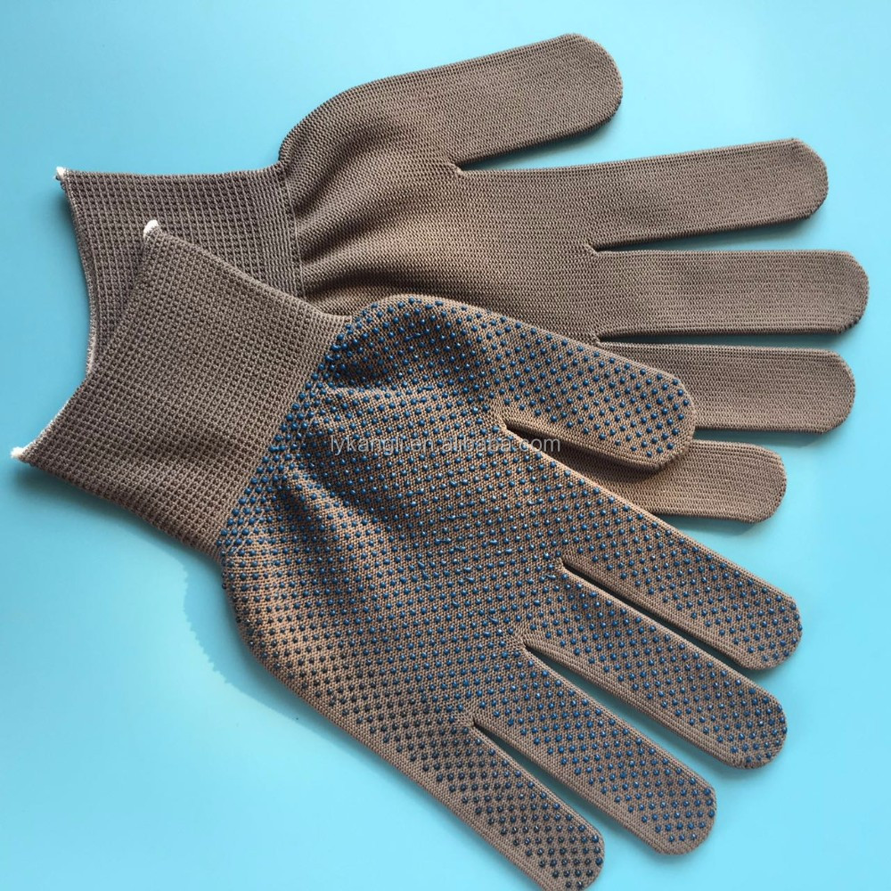 Mini PVC dots on polyester knitted working safety gloves