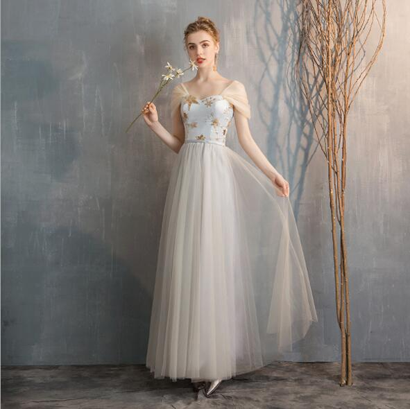 2019 hot sell 12 models  long gray bridesmaid dresses women evening dress