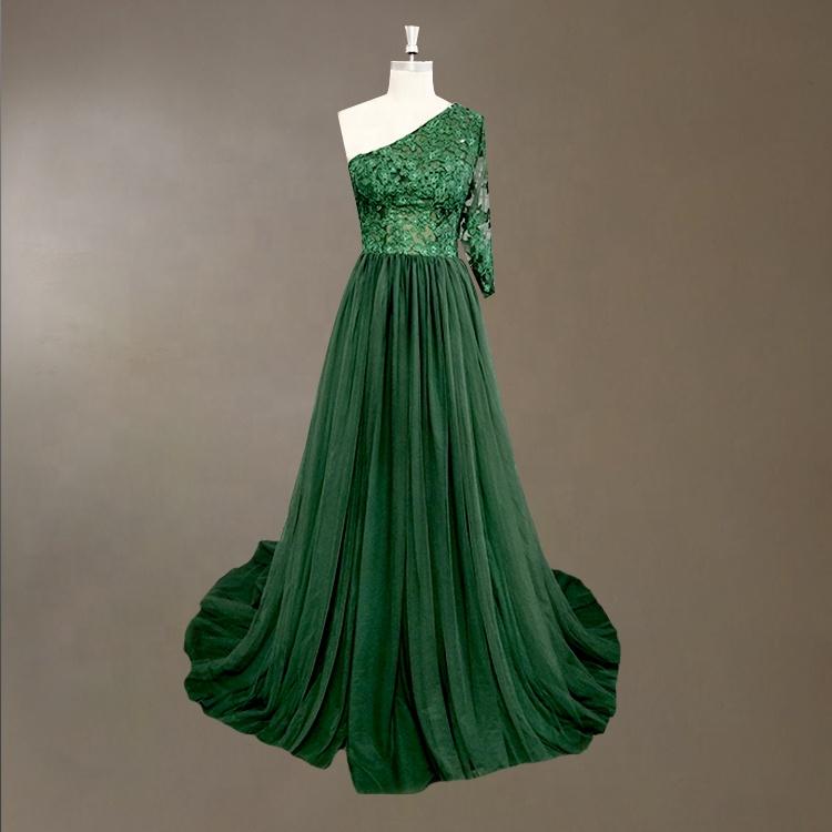 Un Hombro Esmeralda Verde De Dama De Honor Vestido Con Encaje De Tul De Fiesta De Noche Largo Damas Ropa Vestido 2019 De Vestido De Noche