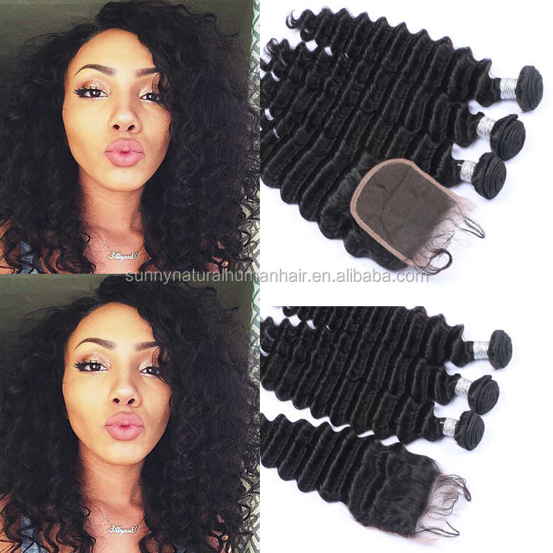 real human hair bundles with closure 4x4 deep wave peruvian hair lace closures water wave