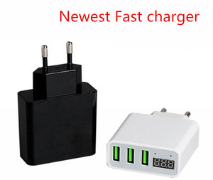 Wholesale USB Charger 3 USB Port Wall Charger Display Current Voltage 3A Fast Charger For Iphone X 8 Samsung S9