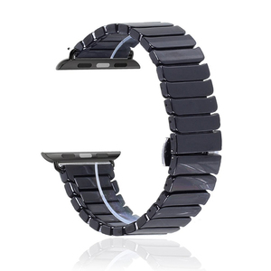 Ceramic Link Watch Band with Butterfly Closure For Apple Watch Series 1 2 3 4