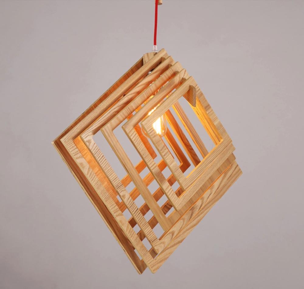 Nordic creatieve korte houten hanger lampen vierkante vorm ...