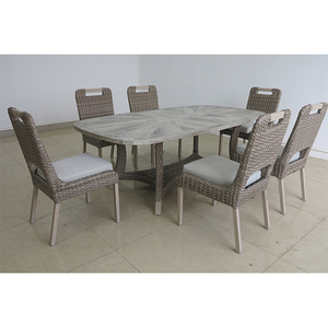 Promotion Hotel commercial dining set white rattan outdoor furniture and ceramic top