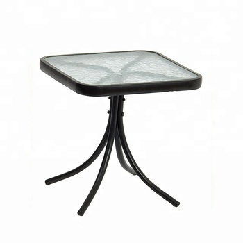 Metal Steel Square Glass Top Side End Table