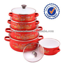 673EDG china insulating 5pcs glass lid kitchenware customized enamel casserole camping red enamelware