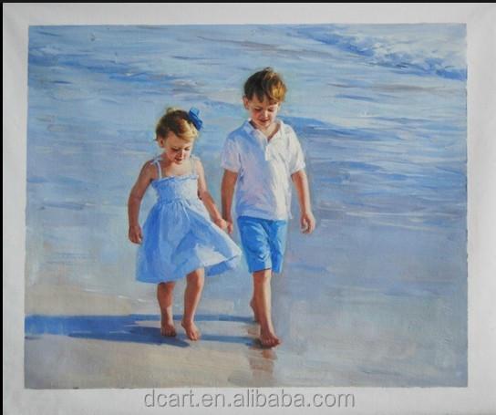 Jongen en meisje wandeling langs de kust harmonieuze populaire strand kinderen schilderen - Schilderen kind jongen ...